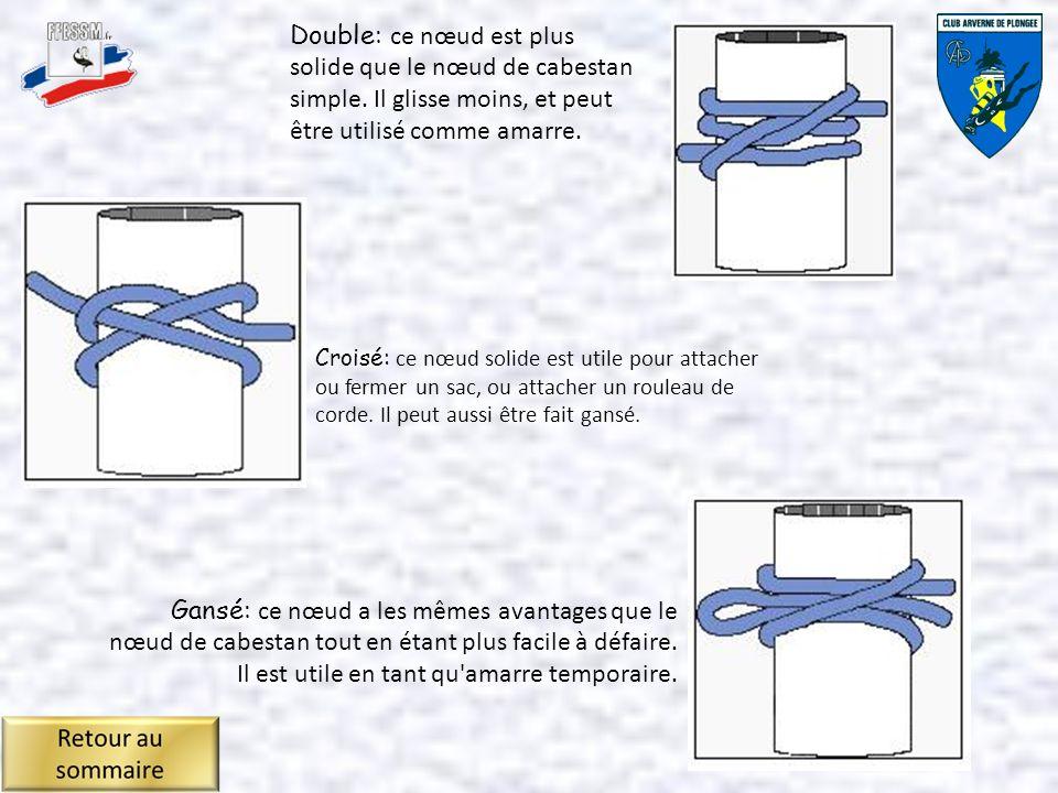 Croisé: ce nœud solide est utile pour attacher ou fermer un sac, ou attacher un rouleau de corde.
