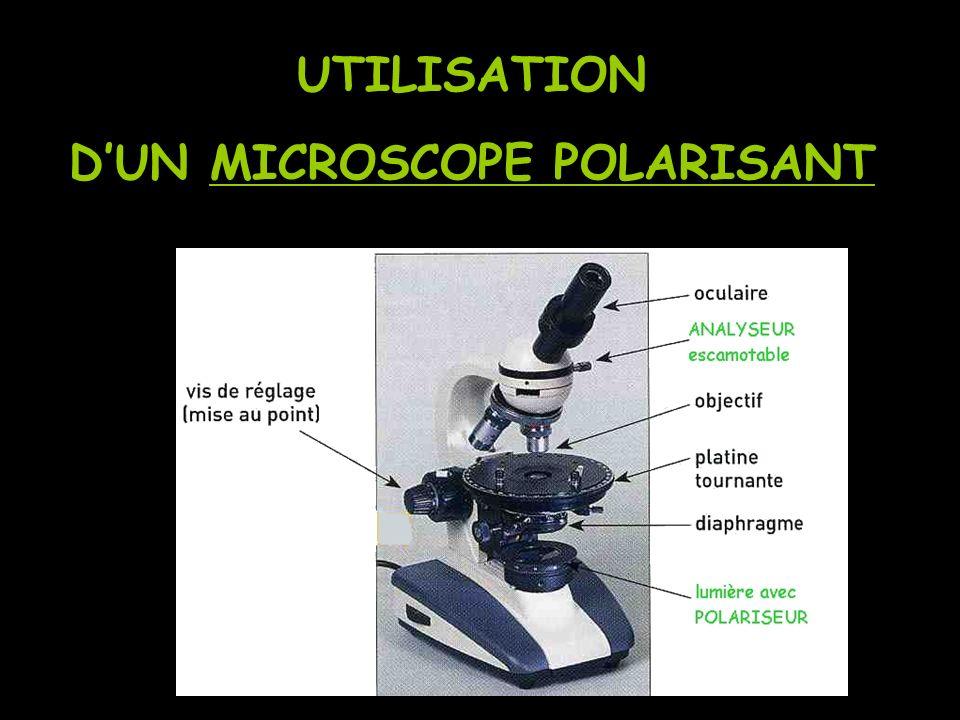 PRINCIPE : Le microscope polarisant est un instrument doptique muni de filtres spéciaux pour lobservation et lidentification des minéraux.