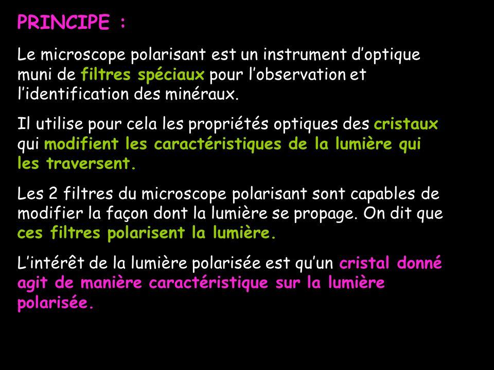 PRINCIPE : Le microscope polarisant est un instrument doptique muni de filtres spéciaux pour lobservation et lidentification des minéraux. Il utilise