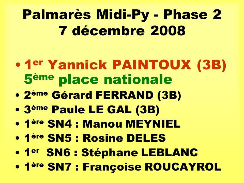 Palmarès Midi-Py - Phase 2 7 décembre 2008 1 er Yannick PAINTOUX (3B) 5 ème place nationale 2 ème Gérard FERRAND (3B) 3 ème Paule LE GAL (3B) 1 ère SN4 : Manou MEYNIEL 1 ère SN5 : Rosine DELES 1 er SN6 : Stéphane LEBLANC 1 ère SN7 : Françoise ROUCAYROL