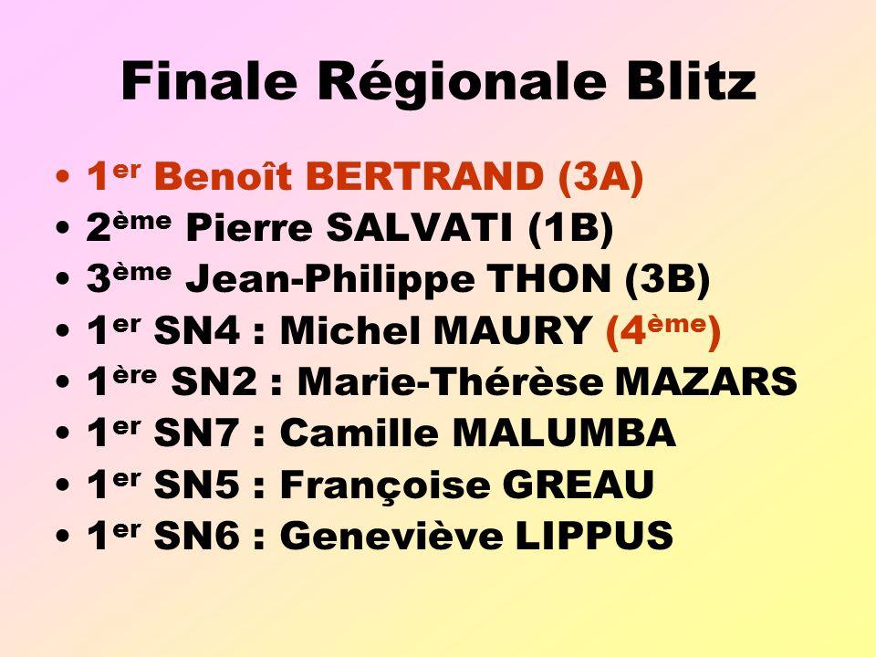 Finale Régionale Blitz 1 er Benoît BERTRAND (3A) 2 ème Pierre SALVATI (1B) 3 ème Jean-Philippe THON (3B) 1 er SN4 : Michel MAURY (4 ème ) 1 ère SN2 : Marie-Thérèse MAZARS 1 er SN7 : Camille MALUMBA 1 er SN5 : Françoise GREAU 1 er SN6 : Geneviève LIPPUS