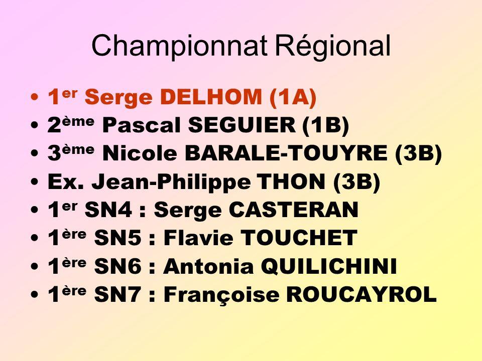 Championnat Régional 1 er Serge DELHOM (1A) 2 ème Pascal SEGUIER (1B) 3 ème Nicole BARALE-TOUYRE (3B) Ex.