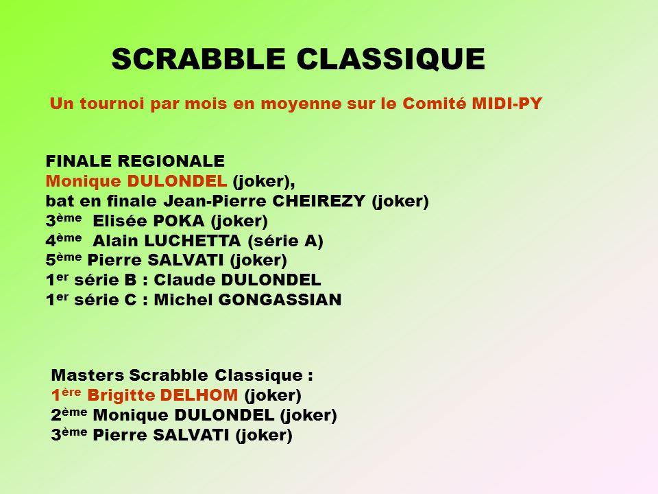 Masters Scrabble Classique : 1 ère Brigitte DELHOM (joker) 2 ème Monique DULONDEL (joker) 3 ème Pierre SALVATI (joker) SCRABBLE CLASSIQUE FINALE REGIONALE Monique DULONDEL (joker), bat en finale Jean-Pierre CHEIREZY (joker) 3 ème Elisée POKA (joker) 4 ème Alain LUCHETTA (série A) 5 ème Pierre SALVATI (joker) 1 er série B : Claude DULONDEL 1 er série C : Michel GONGASSIAN Un tournoi par mois en moyenne sur le Comité MIDI-PY