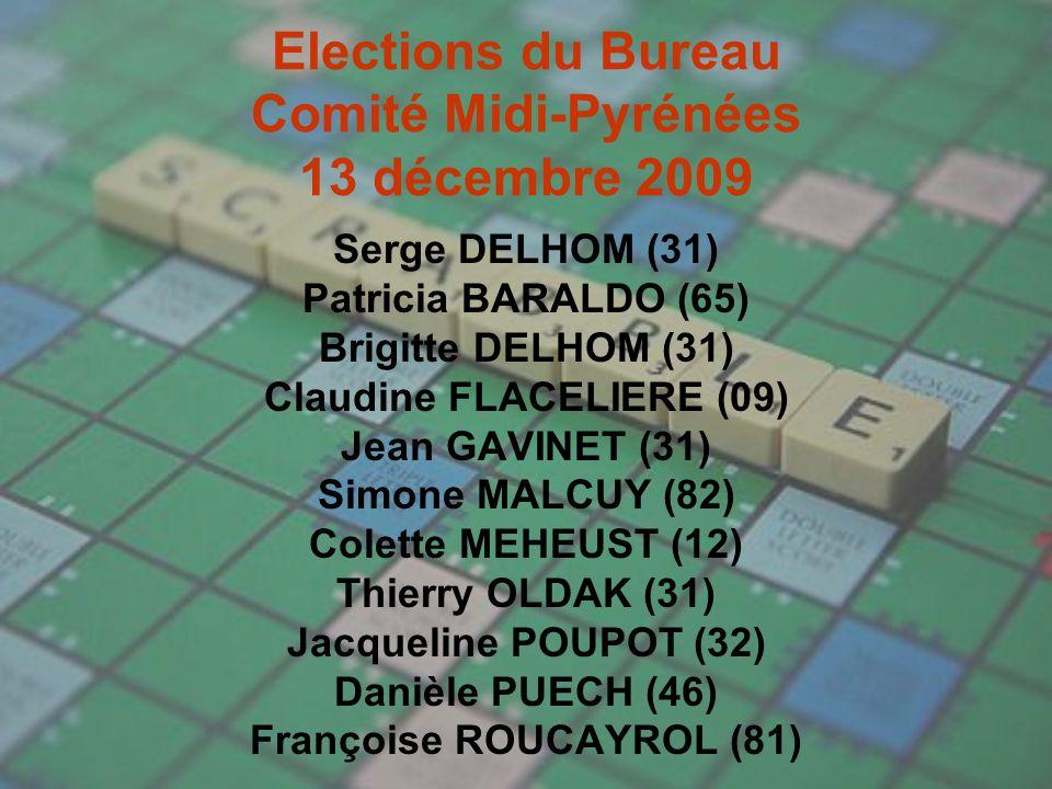 Elections du Bureau Comité Midi-Pyrénées 13 décembre 2009 Serge DELHOM (31) Patricia BARALDO (65) Brigitte DELHOM (31) Claudine FLACELIERE (09) Jean GAVINET (31) Simone MALCUY (82) Colette MEHEUST (12) Thierry OLDAK (31) Jacqueline POUPOT (32) Danièle PUECH (46) Françoise ROUCAYROL (81)
