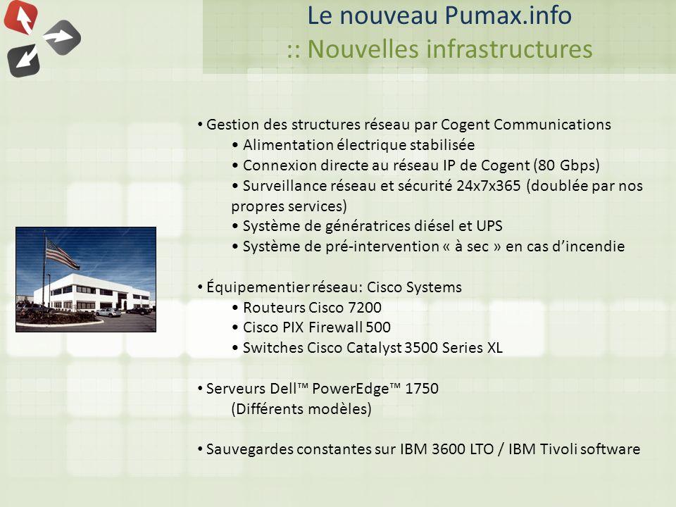 Le nouveau Pumax.info :: Nouvelles infrastructures Gestion des structures réseau par Cogent Communications Alimentation électrique stabilisée Connexion directe au réseau IP de Cogent (80 Gbps) Surveillance réseau et sécurité 24x7x365 (doublée par nos propres services) Système de génératrices diésel et UPS Système de pré-intervention « à sec » en cas dincendie Équipementier réseau: Cisco Systems Routeurs Cisco 7200 Cisco PIX Firewall 500 Switches Cisco Catalyst 3500 Series XL Serveurs Dell PowerEdge 1750 (Différents modèles) Sauvegardes constantes sur IBM 3600 LTO / IBM Tivoli software