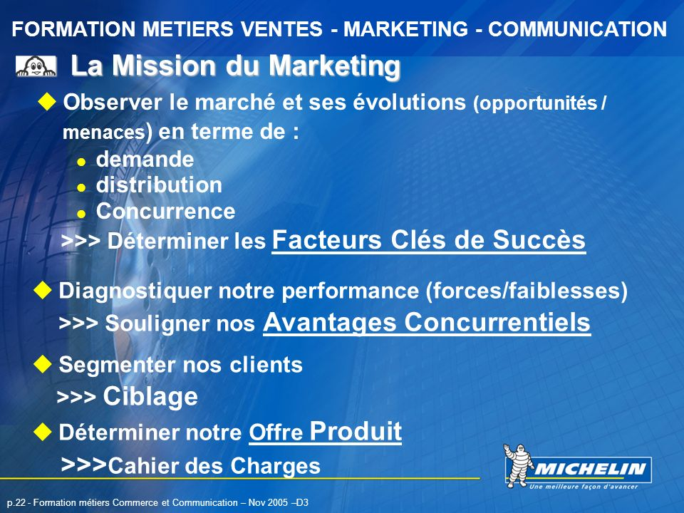 FORMATION METIERS VENTES - MARKETING - COMMUNICATION p.22 - Formation métiers Commerce et Communication – Nov 2005 –D3 La Mission du Marketing Observe
