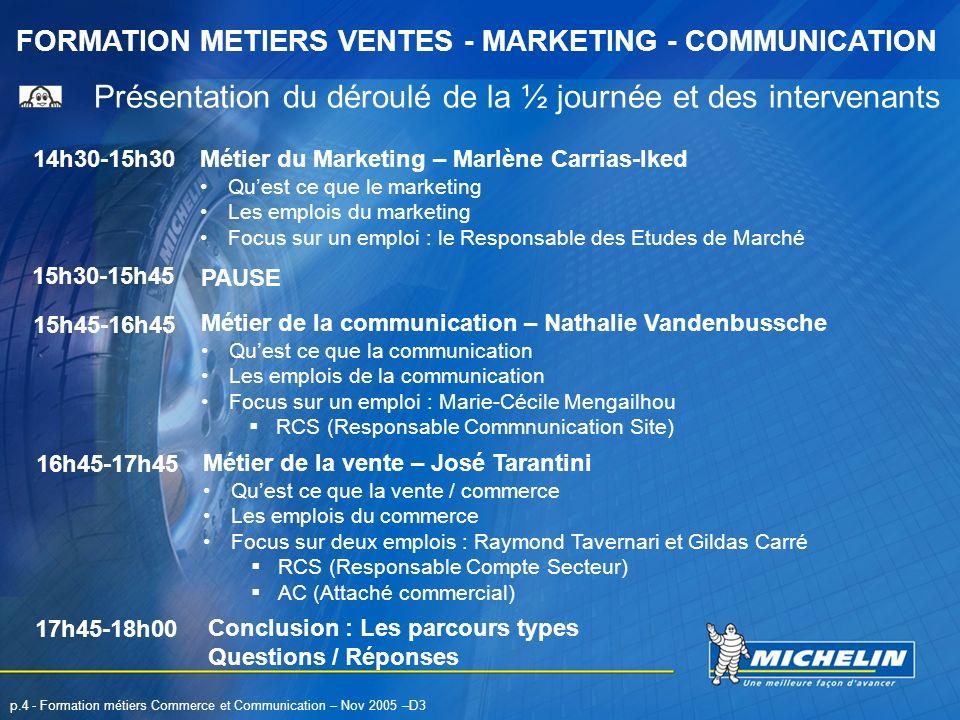FORMATION METIERS VENTES - MARKETING - COMMUNICATION p.4 - Formation métiers Commerce et Communication – Nov 2005 –D3 Présentation du déroulé de la ½