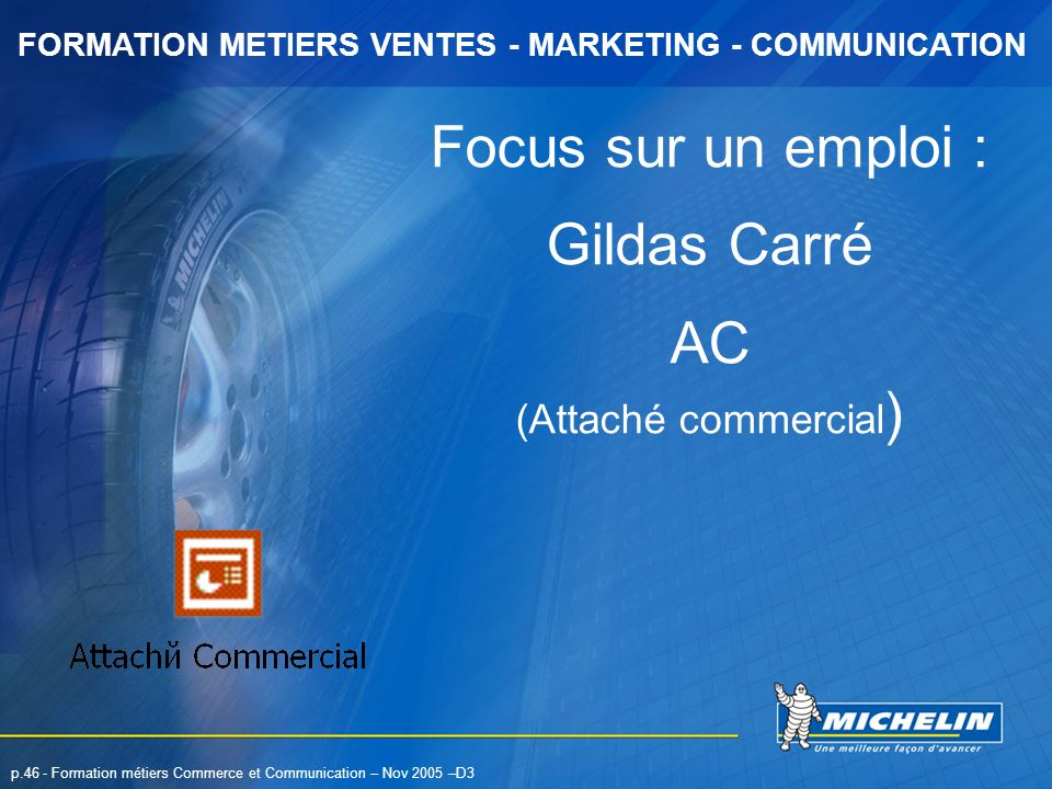 FORMATION METIERS VENTES - MARKETING - COMMUNICATION p.46 - Formation métiers Commerce et Communication – Nov 2005 –D3 Focus sur un emploi : Gildas Ca