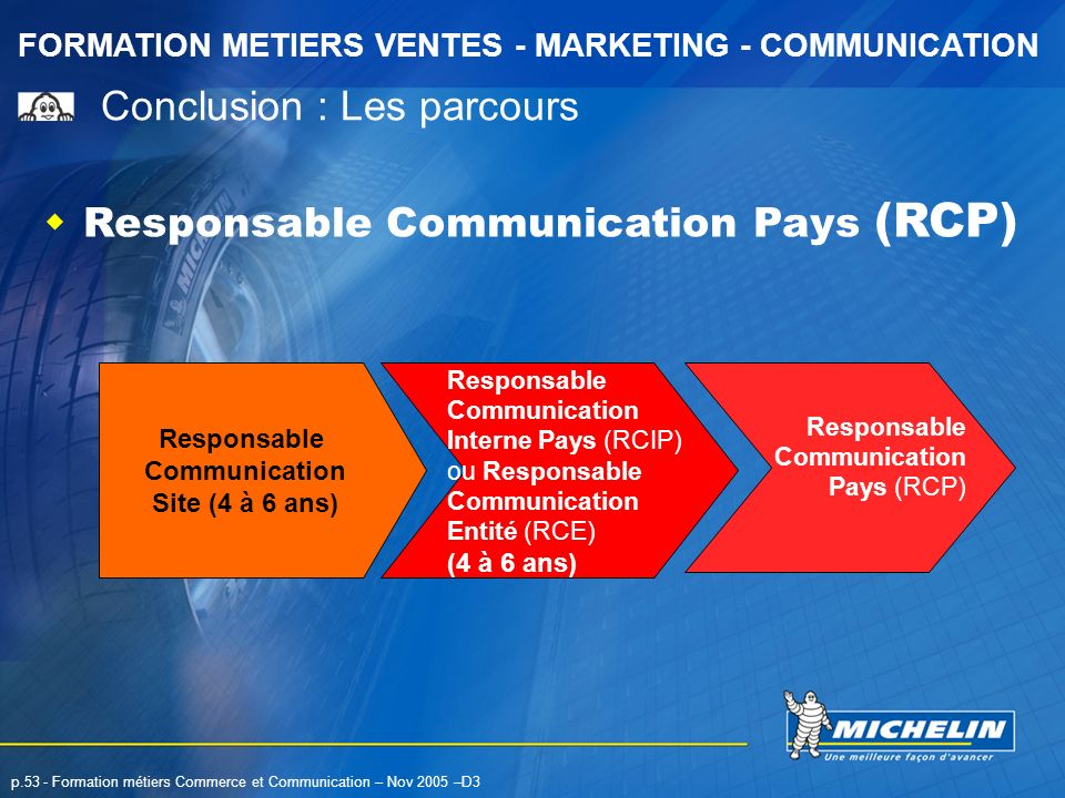 FORMATION METIERS VENTES - MARKETING - COMMUNICATION p.53 - Formation métiers Commerce et Communication – Nov 2005 –D3 Responsable Communication Pays