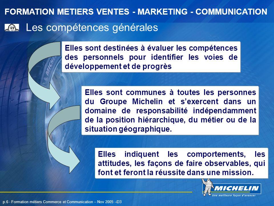 FORMATION METIERS VENTES - MARKETING - COMMUNICATION p.6 - Formation métiers Commerce et Communication – Nov 2005 –D3 Les compétences générales Elles