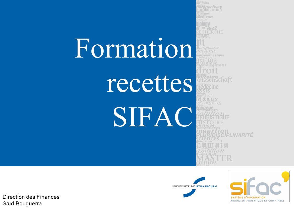 Formation recettes SIFAC Direction des Finances Saïd Bouguerra