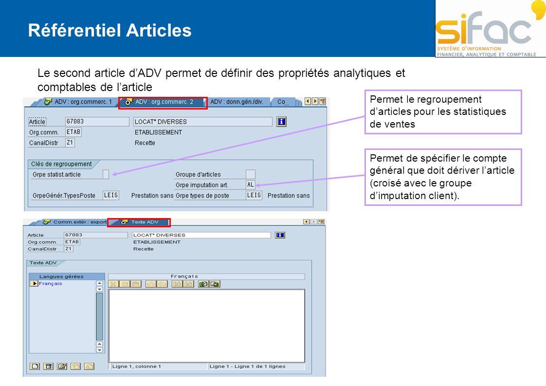 Le second article dADV permet de définir des propriétés analytiques et comptables de larticle Permet le regroupement darticles pour les statistiques d