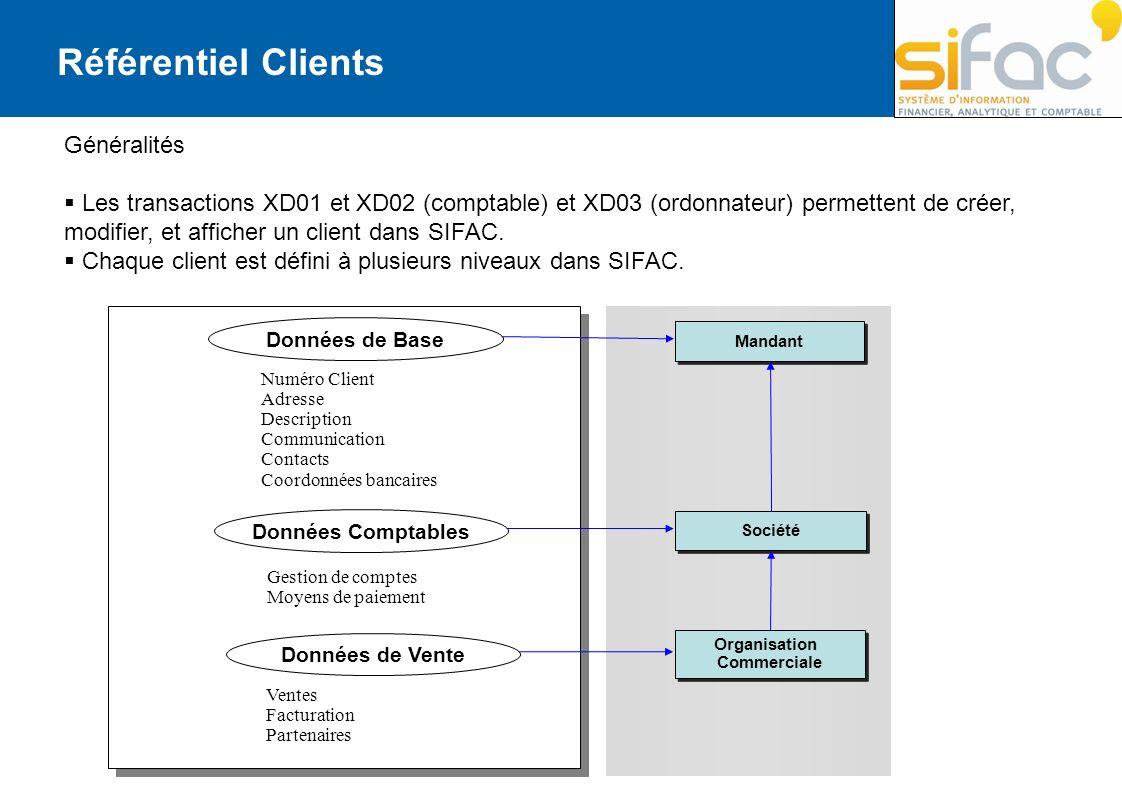Référentiel Clients Généralités Les transactions XD01 et XD02 (comptable) et XD03 (ordonnateur) permettent de créer, modifier, et afficher un client d