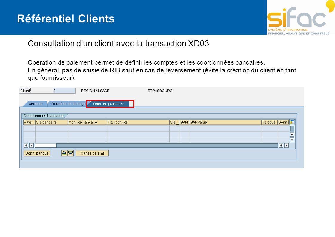 Référentiel Clients Consultation dun client avec la transaction XD03 Opération de paiement permet de définir les comptes et les coordonnées bancaires.