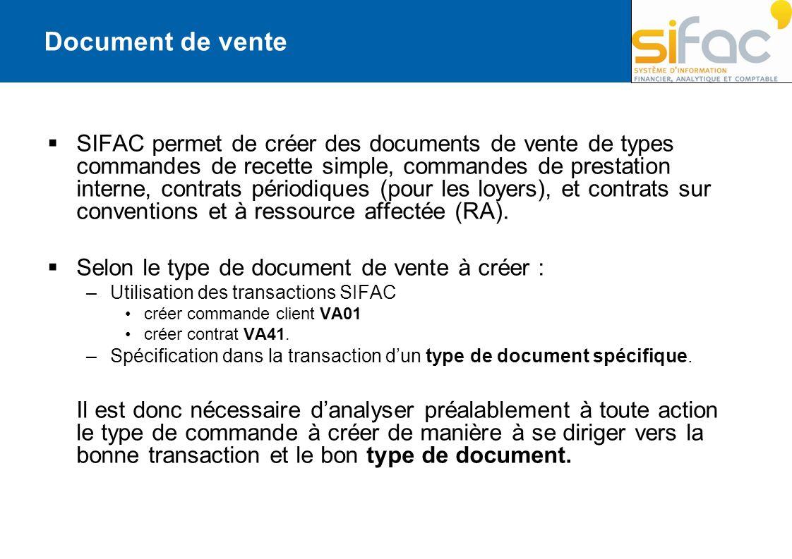 SIFAC permet de créer des documents de vente de types commandes de recette simple, commandes de prestation interne, contrats périodiques (pour les loy
