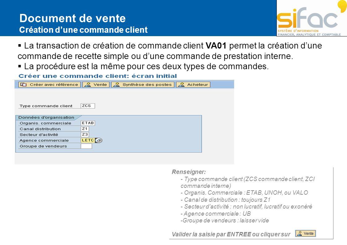 Document de vente Création dune commande client La transaction de création de commande client VA01 permet la création dune commande de recette simple