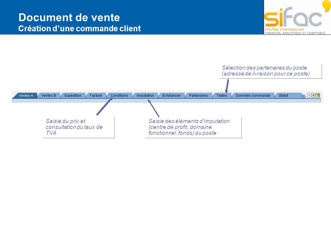 Document de vente Création dune commande client Saisie des éléments dimputation (centre de profit, domaine fonctionnel, fonds) du poste Saisie du prix