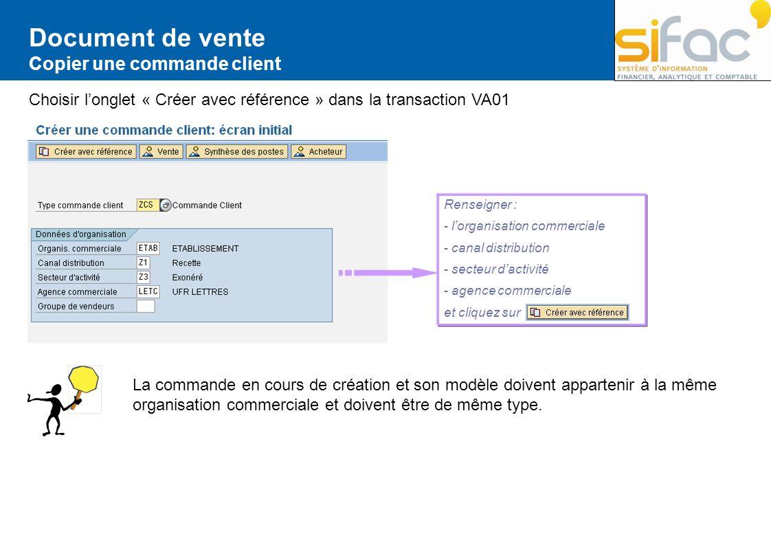 Document de vente Copier une commande client Choisir longlet « Créer avec référence » dans la transaction VA01 Renseigner : - lorganisation commercial