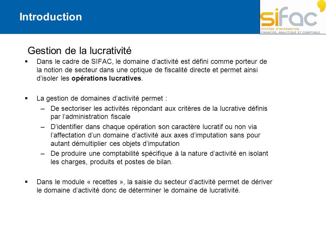 Introduction Gestion de la lucrativité Dans le cadre de SIFAC, le domaine dactivité est défini comme porteur de la notion de secteur dans une optique