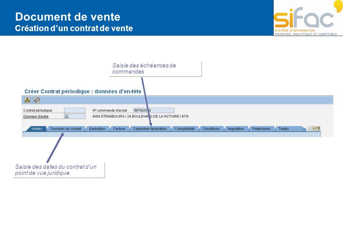 Document de vente Création dun contrat de vente Saisie des échéances de commandes Saisie des dates du contrat dun point de vue juridique