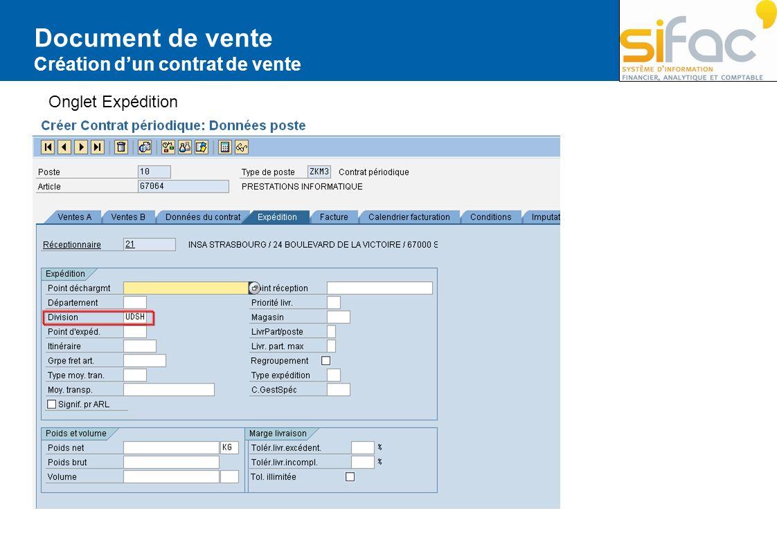 Document de vente Création dun contrat de vente Onglet Expédition