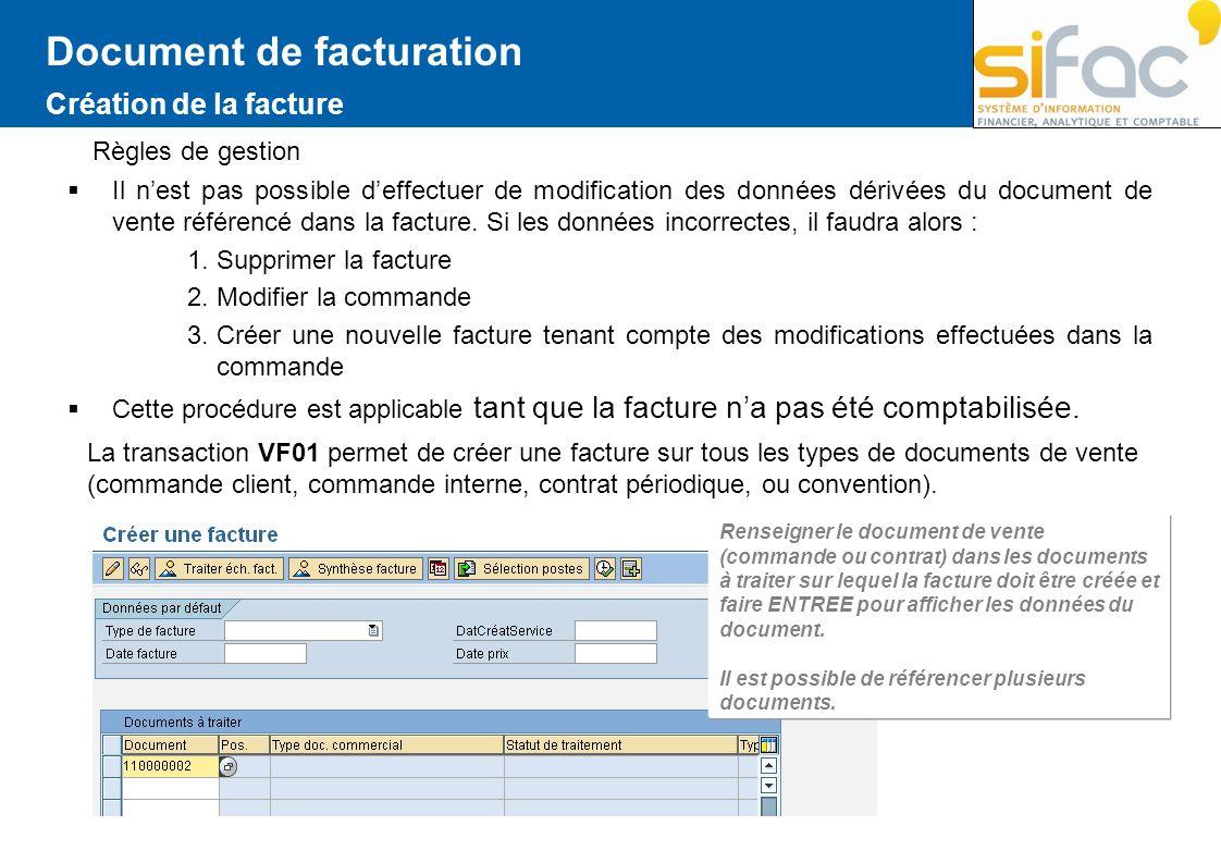 Document de facturation Création de la facture Règles de gestion Il nest pas possible deffectuer de modification des données dérivées du document de v