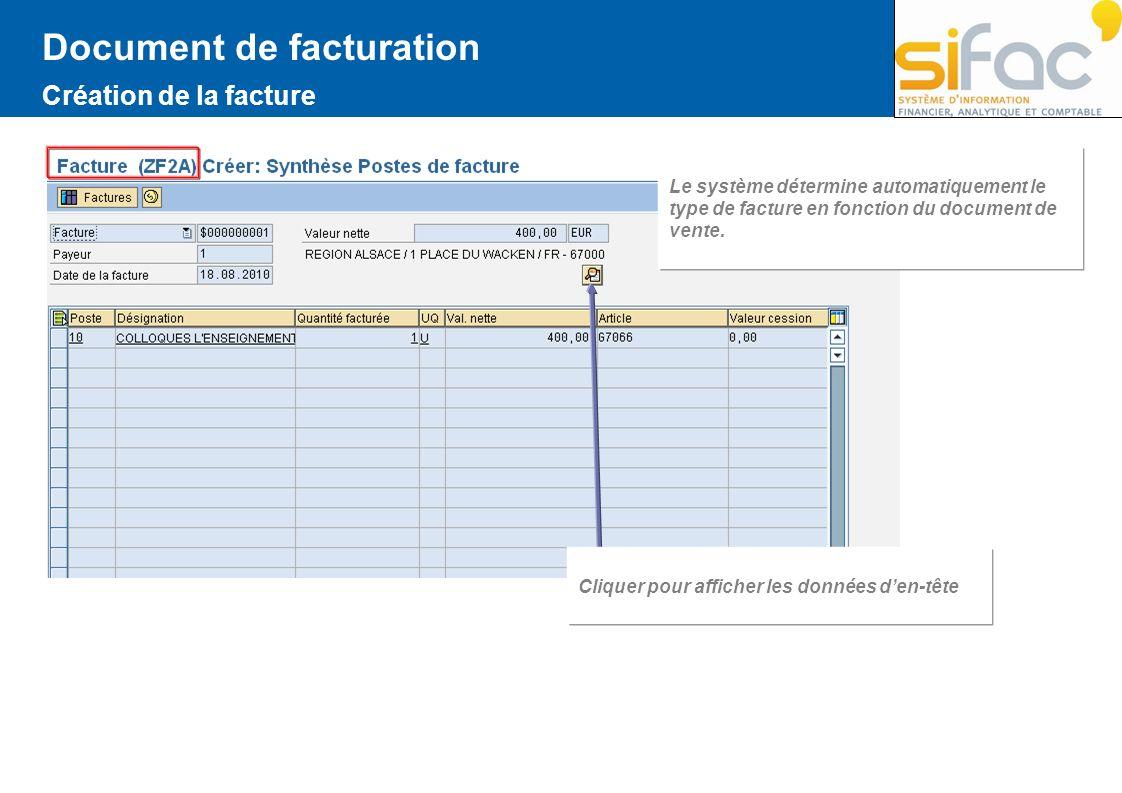Document de facturation Création de la facture Le système détermine automatiquement le type de facture en fonction du document de vente. Cliquer pour