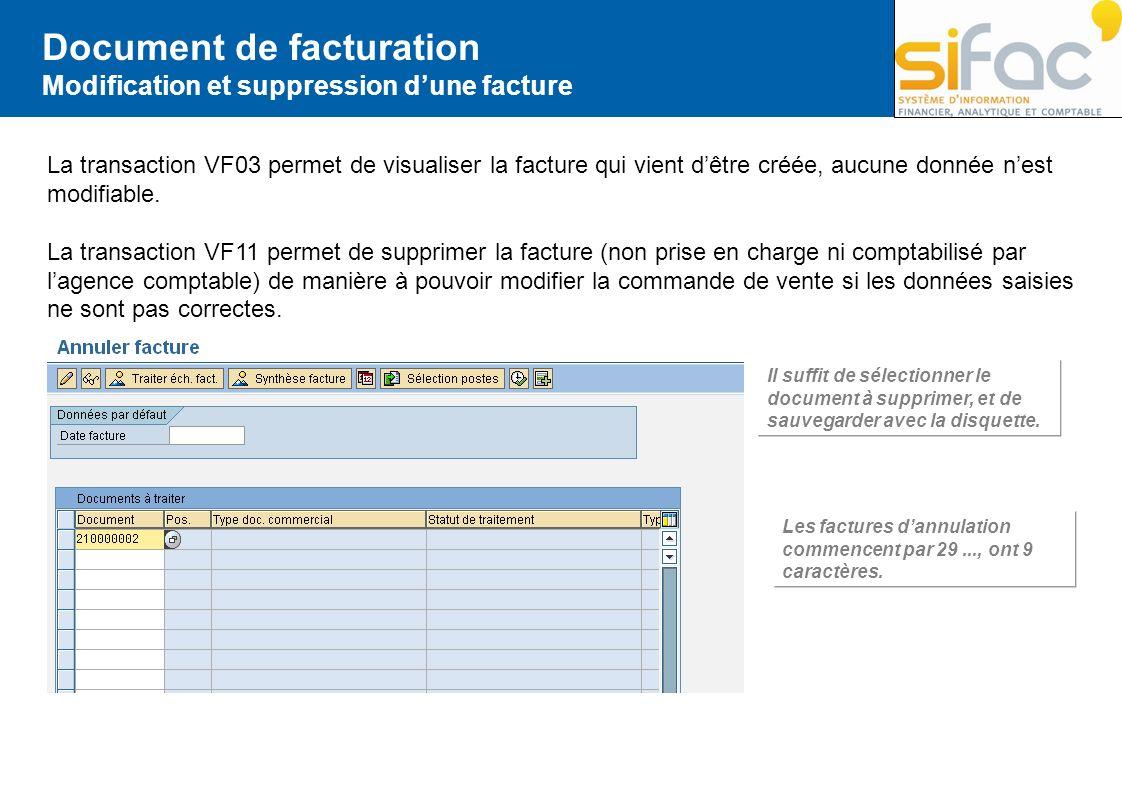 Document de facturation Modification et suppression dune facture La transaction VF03 permet de visualiser la facture qui vient dêtre créée, aucune don