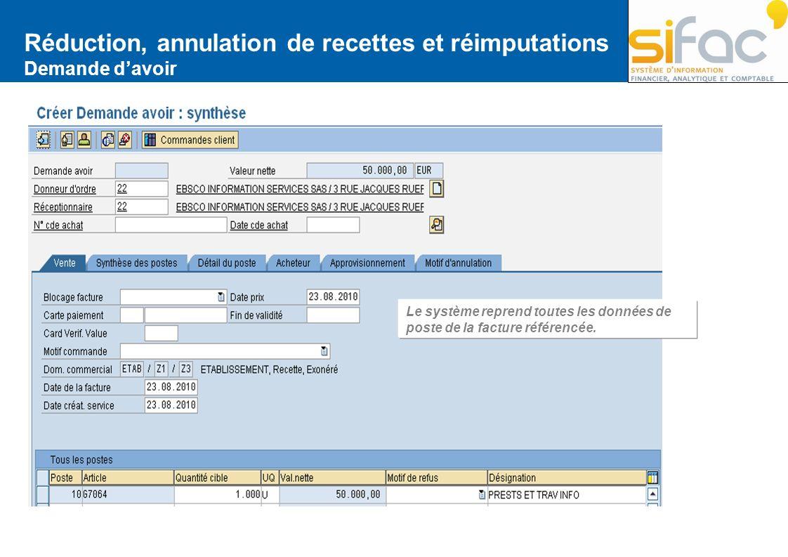 Réduction, annulation de recettes et réimputations Demande davoir Le système reprend toutes les données de poste de la facture référencée.