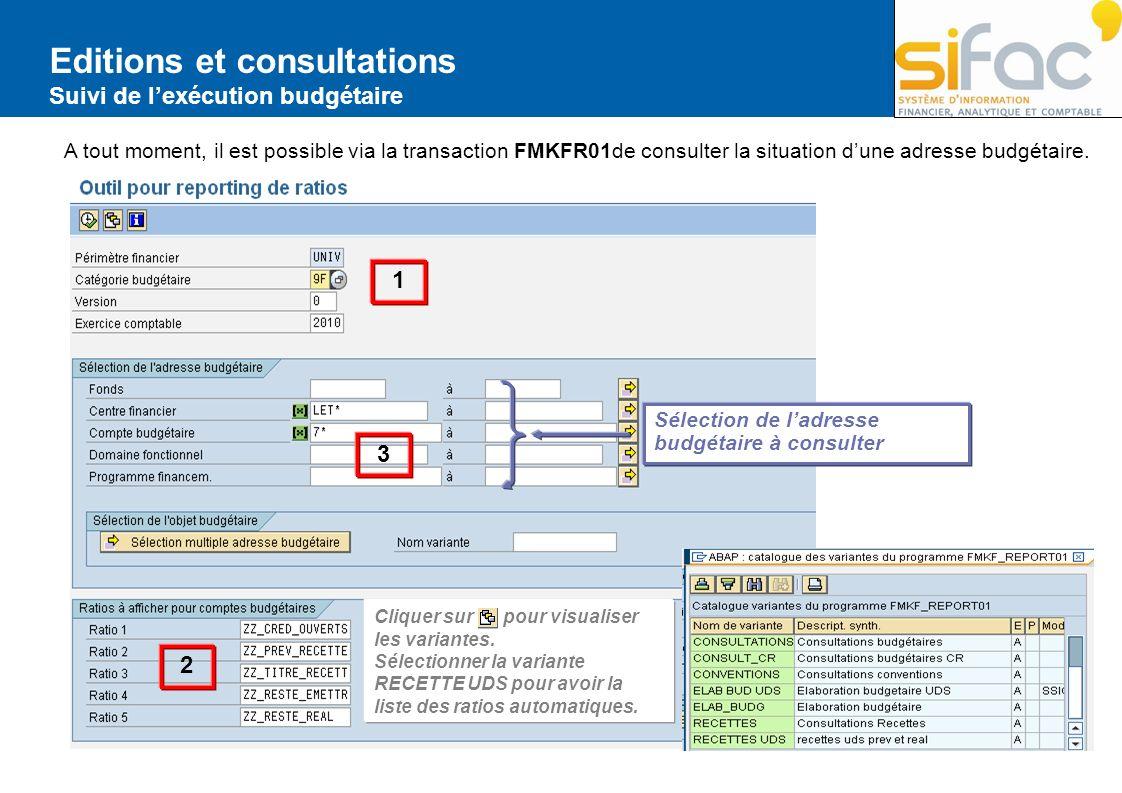Editions et consultations Suivi de lexécution budgétaire A tout moment, il est possible via la transaction FMKFR01de consulter la situation dune adres