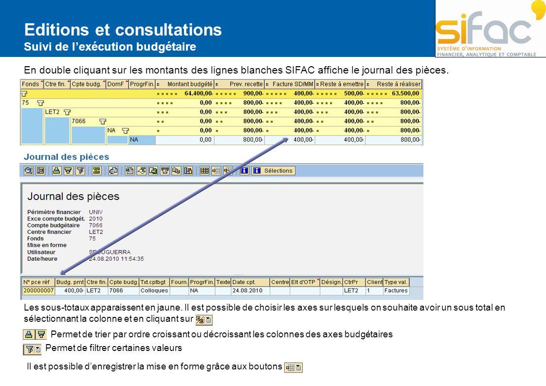 Editions et consultations Suivi de lexécution budgétaire En double cliquant sur les montants des lignes blanches SIFAC affiche le journal des pièces.