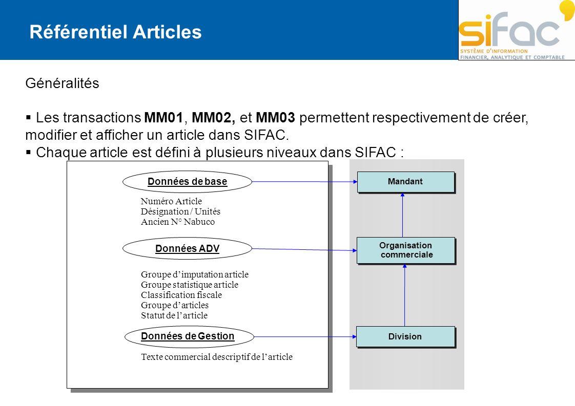 Généralités Les transactions MM01, MM02, et MM03 permettent respectivement de créer, modifier et afficher un article dans SIFAC. Chaque article est dé
