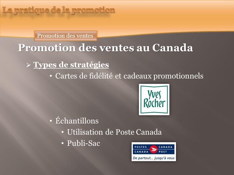 Promotion des ventes au Canada Types de stratégies Cartes de fidélité et cadeaux promotionnels Échantillons Utilisation de Poste Canada Publi-Sac Promotion des ventes
