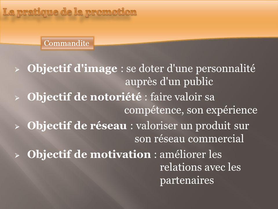 Commandite Objectif d'image : se doter d'une personnalité auprès d'un public Objectif de notoriété : faire valoir sa compétence, son expérience Object