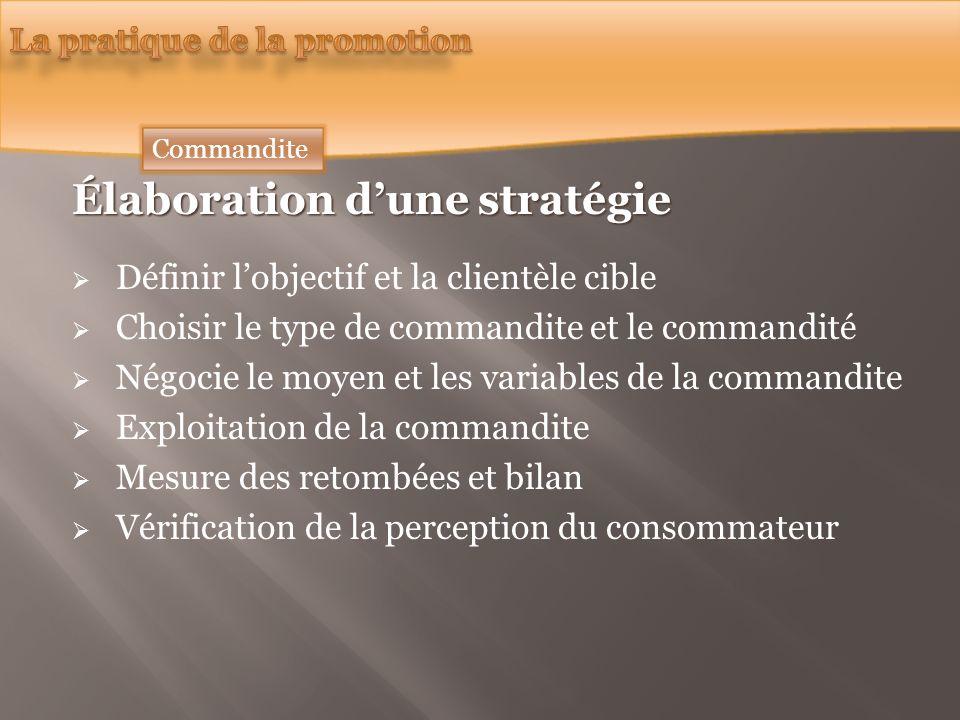 Commandite Élaboration dune stratégie Définir lobjectif et la clientèle cible Choisir le type de commandite et le commandité Négocie le moyen et les v