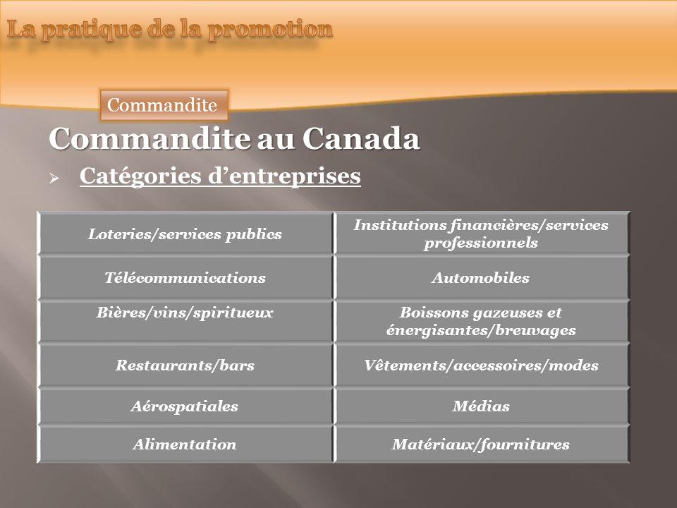 Commandite au Canada Catégories dentreprises Loteries/services publics Institutions financières/services professionnels TélécommunicationsAutomobiles
