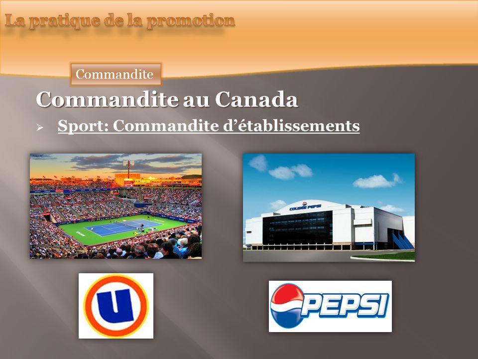 Commandite au Canada Sport: Commandite détablissements Commandite