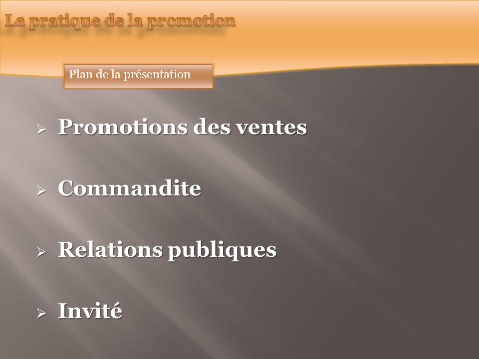 Promotions des ventes Promotions des ventes Commandite Commandite Relations publiques Relations publiques Invité Invité Plan de la présentation