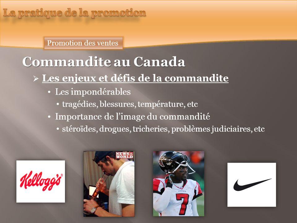 Commandite au Canada Les enjeux et défis de la commandite Les impondérables tragédies, blessures, température, etc Importance de limage du commandité