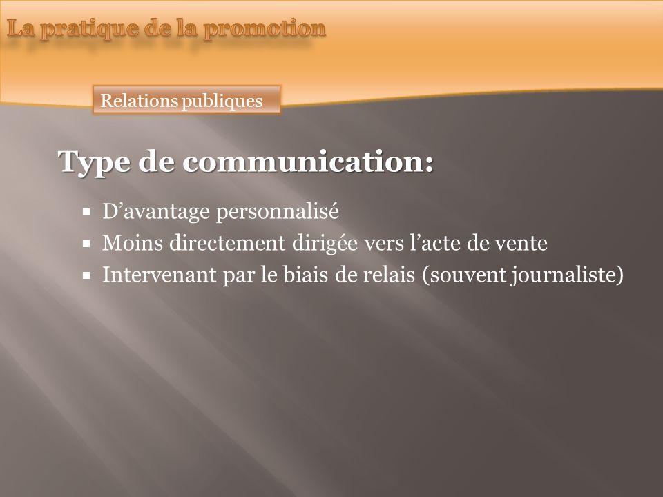 Relations publiques Type de communication: Davantage personnalisé Moins directement dirigée vers lacte de vente Intervenant par le biais de relais (souvent journaliste)