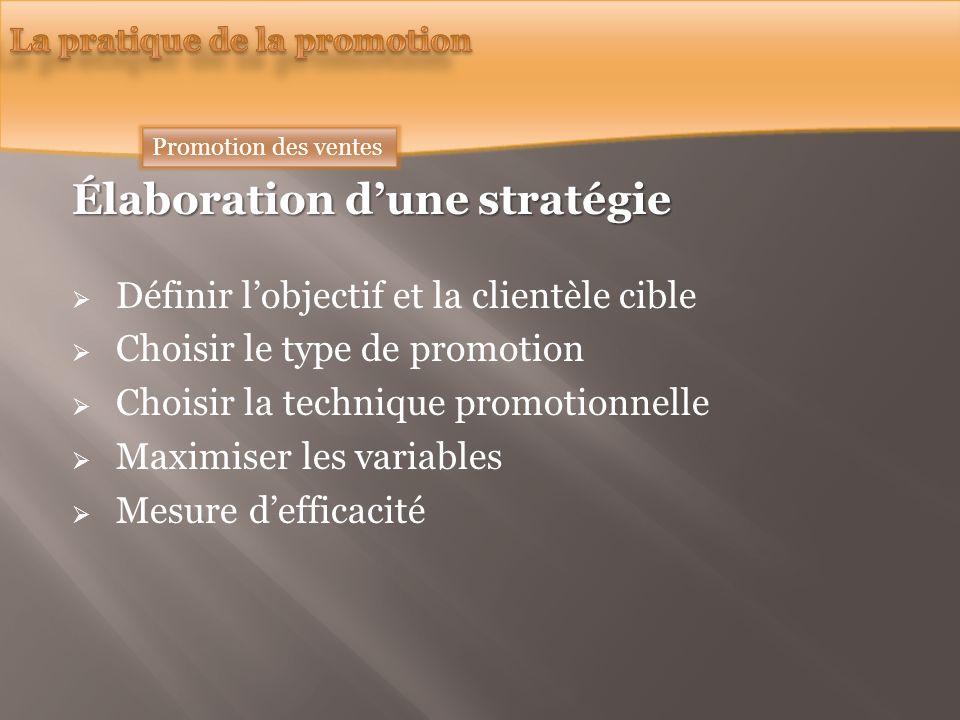 Élaboration dune stratégie Définir lobjectif et la clientèle cible Choisir le type de promotion Choisir la technique promotionnelle Maximiser les variables Mesure defficacité Promotion des ventes