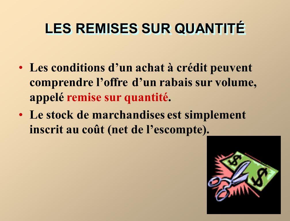 LES REMISES SUR QUANTITÉ Les conditions dun achat à crédit peuvent comprendre loffre dun rabais sur volume, appelé remise sur quantité.