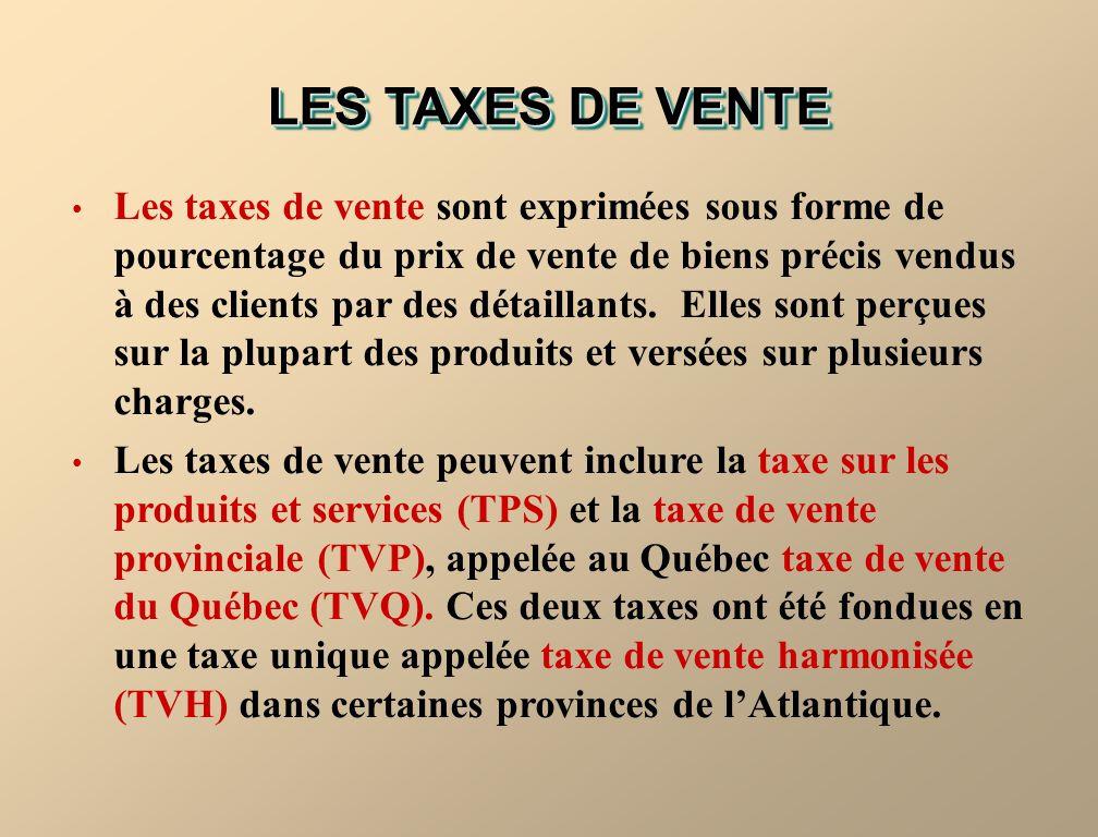 LES TAXES DE VENTE Les taxes de vente sont exprimées sous forme de pourcentage du prix de vente de biens précis vendus à des clients par des détaillants.