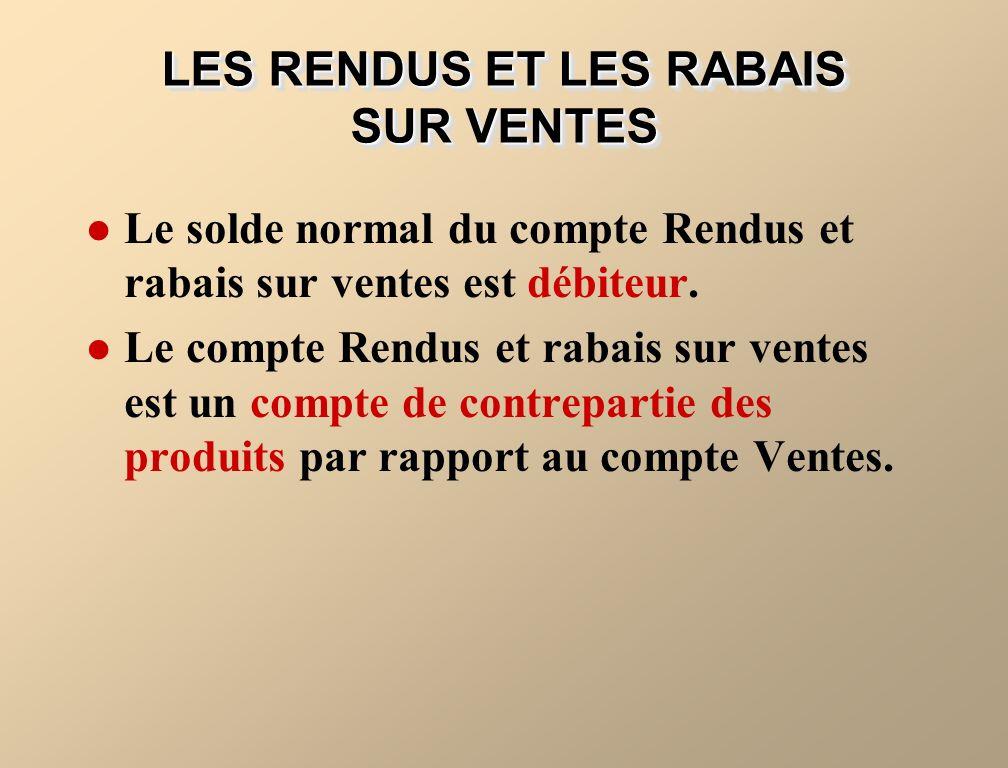 Le solde normal du compte Rendus et rabais sur ventes est débiteur.