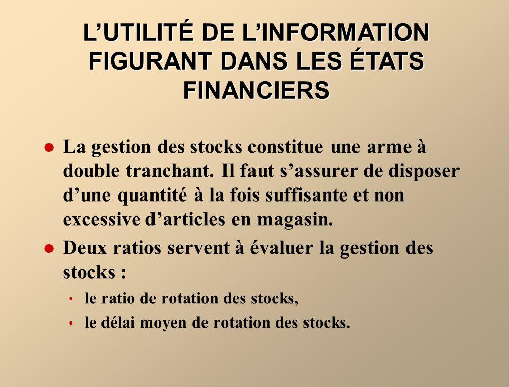 LUTILITÉ DE LINFORMATION FIGURANT DANS LES ÉTATS FINANCIERS La gestion des stocks constitue une arme à double tranchant.