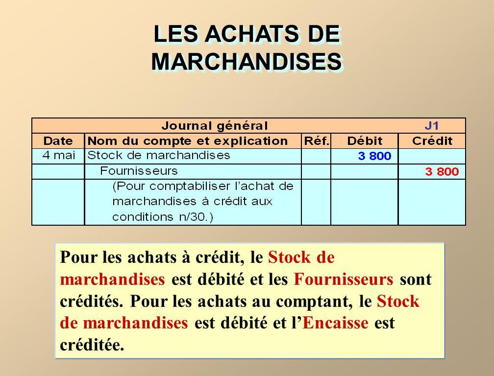 LES ACHATS DE MARCHANDISES Pour les achats à crédit, le Stock de marchandises est débité et les Fournisseurs sont crédités.