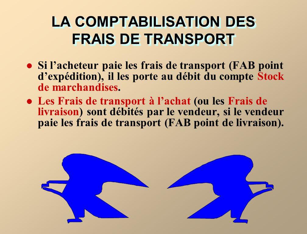 Si lacheteur paie les frais de transport (FAB point dexpédition), il les porte au débit du compte Stock de marchandises.