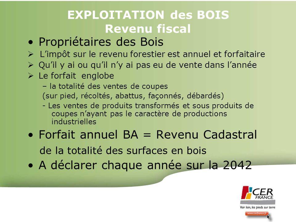 Bois Energie 17 decembre 20093 EXPLOITATION des BOIS Revenu fiscal Propriétaires des Bois Limpôt sur le revenu forestier est annuel et forfaitaire Qui