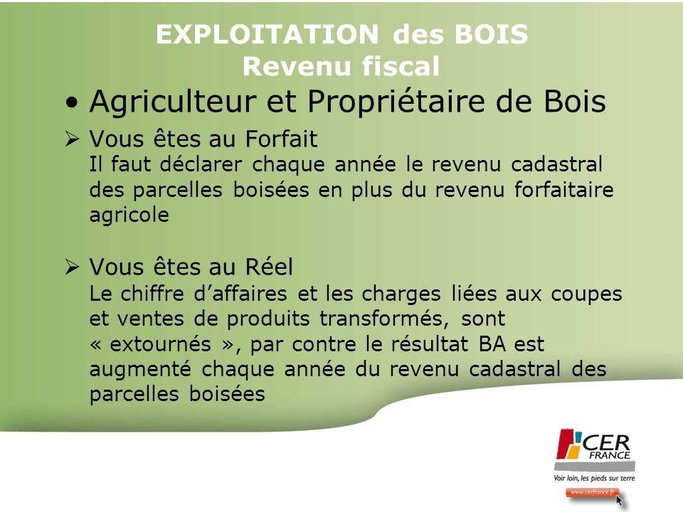 Bois Energie 17 decembre 20094 EXPLOITATION des BOIS Revenu fiscal Agriculteur et Propriétaire de Bois Vous êtes au Forfait Il faut déclarer chaque an