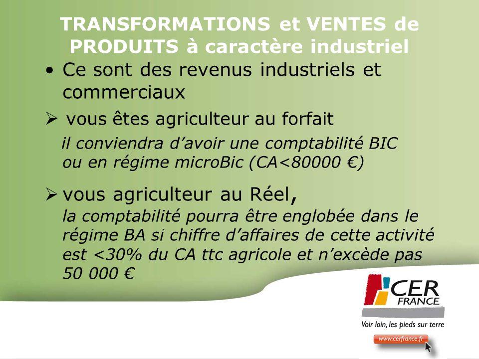 Bois Energie 17 decembre 20095 TRANSFORMATIONS et VENTES de PRODUITS à caractère industriel Ce sont des revenus industriels et commerciaux vous êtes a